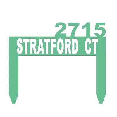 address sign stake green example