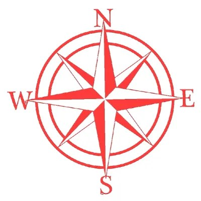 compass rose sign red