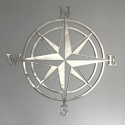 steel compass rose sign