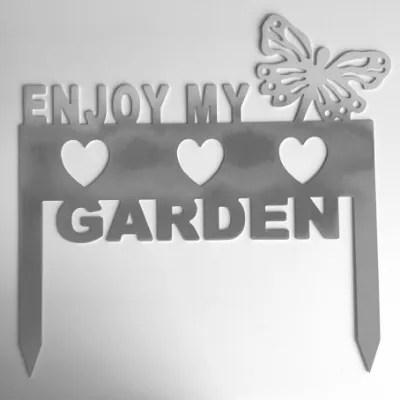 metal garden sign-silver color