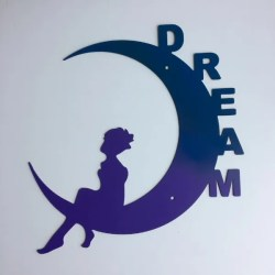 fairy moon- dream text metal art for wall