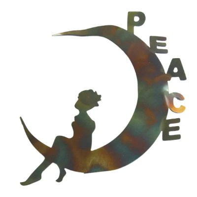 fairy moon- peace text metal art for wall