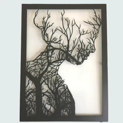 metal tree woman wall decor