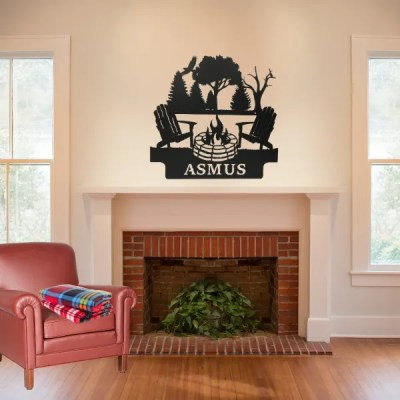 campfire sign on wall