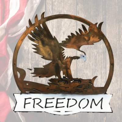 freedom eagle metal wall art with American flag