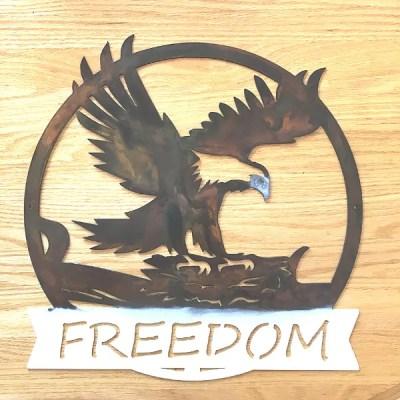 freedom eagle metal wall art