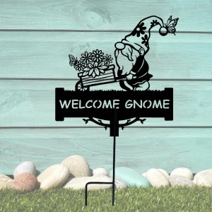 metal welcome garden gnome yard decor