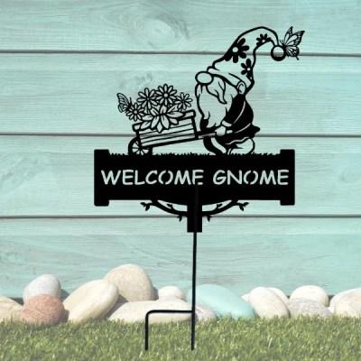 metal welcome garden gnome yard decor