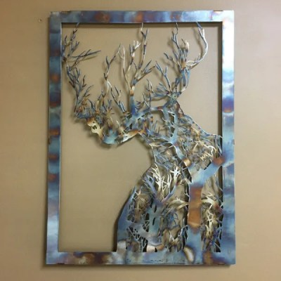 metal tree woman single patina on brown