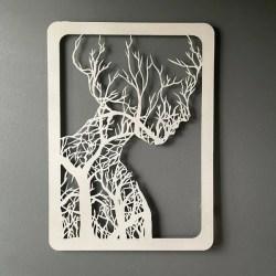 metal tree woman single white
