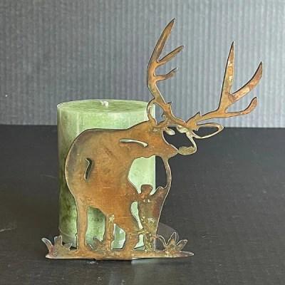 candle holder deer patina