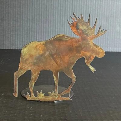 candle holder moose patina