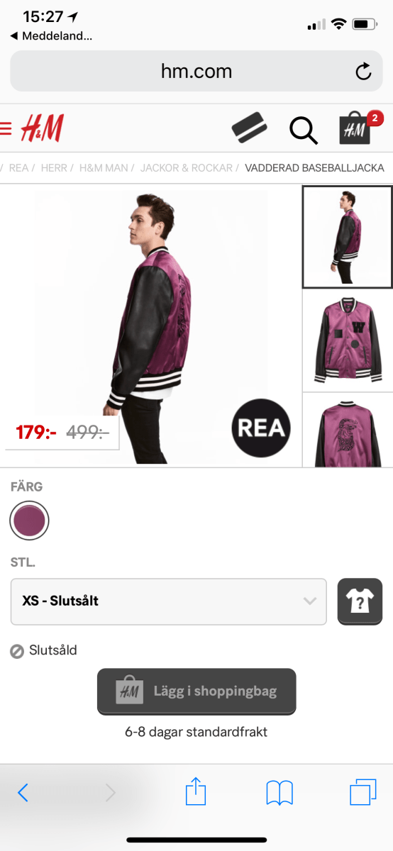 Dagens Kap : The Weeknd Collection X H&M – Padded Baseball Jacket – Satin – Purple/Black