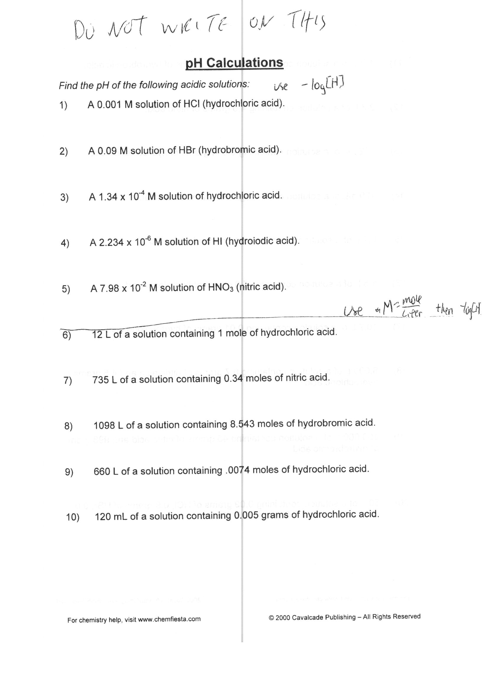Calculating Ph Worksheet
