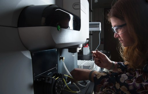 a researcher in her lab