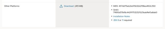 Captura de pantalla del link de descarga de SQL Developer a utilizar.
