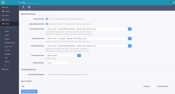 Pantalla de configuración de formato de creación de archivos.