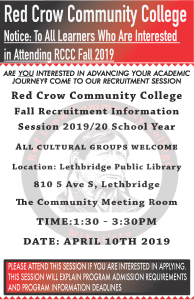 Red Crow Community College Fall Recruitment Information Session 2019/20 School Year @ Lethbridge Public Library