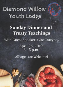Sunday Dinner with Treaty Teachings by guest speaker Gitz Crazyboy @ Diamond Willow Youth Lodge