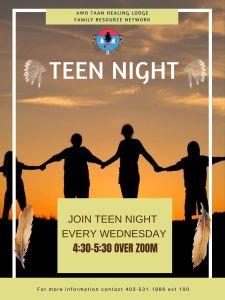 Awo Taan Healing Lodge | Family Resource Network | Teen Nights @ Online Zoom platform