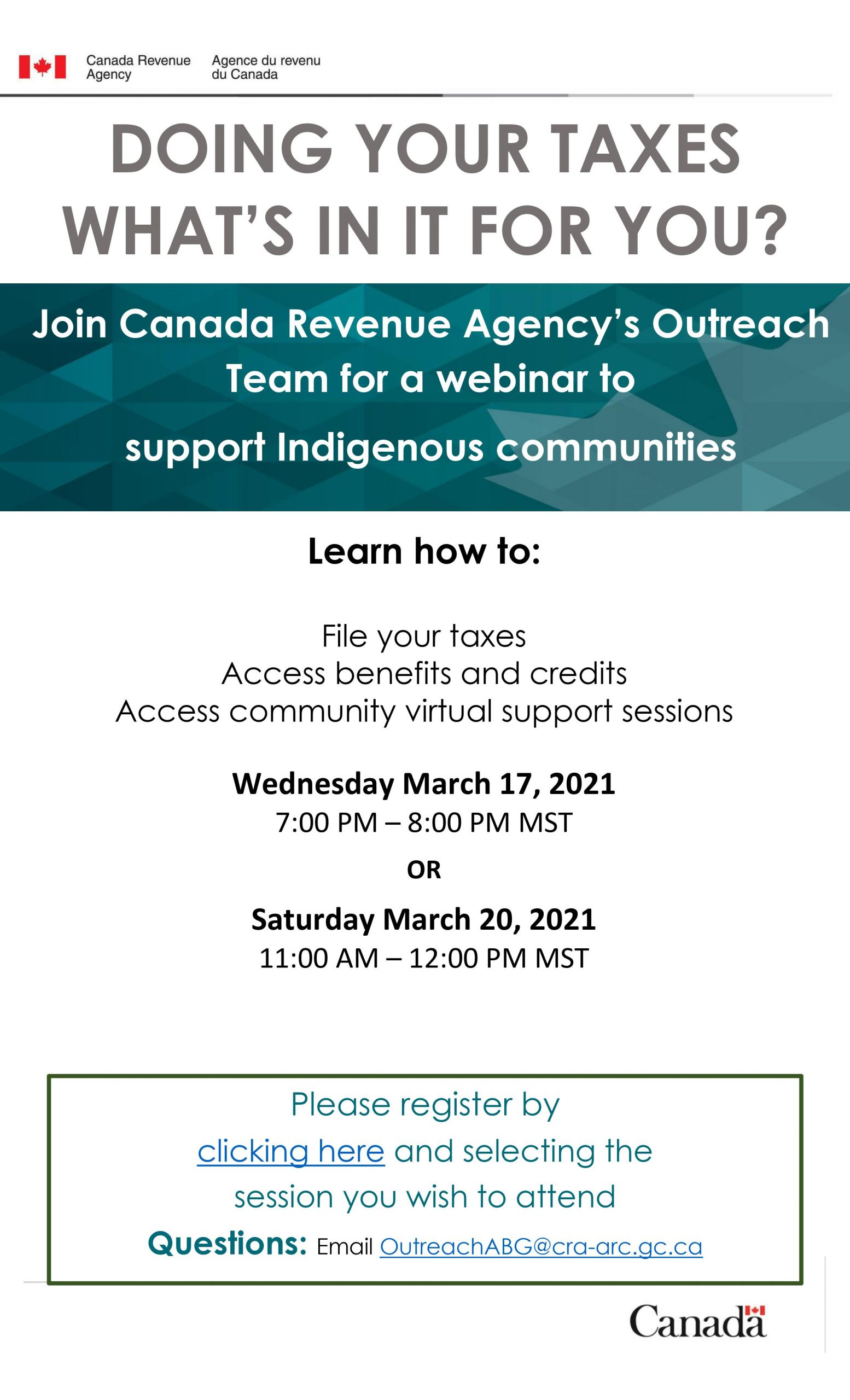Canada Revenue Agency | Outreach Support for Indigenous Communities