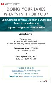 Canada Revenue Agency | Outreach Support for Indigenous Communities @ Virtual