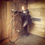 Dr Sheila hanlon with a penny farthing cycle