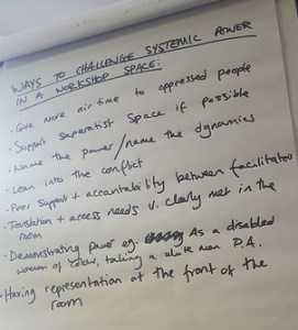 A flipchart with black text with the title ways to challenge systemic power in a workshop space