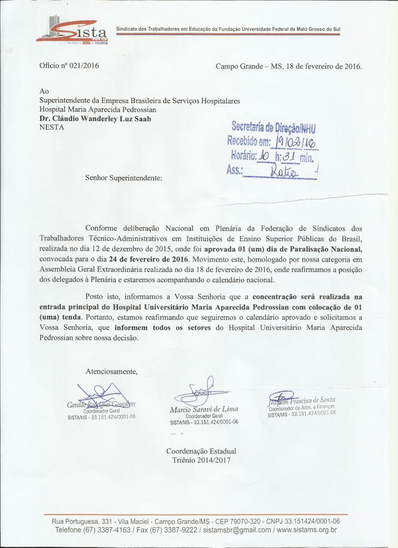 Ofício_HU_Paralisação