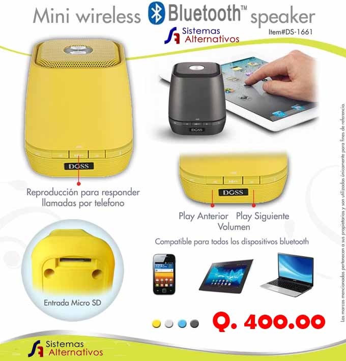 Mini Speaker Bluetooth - Sistemas Alternativos