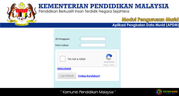 Log In APDM KPM Aplikasi Pangkalan Data Murid Online catat e kehadian