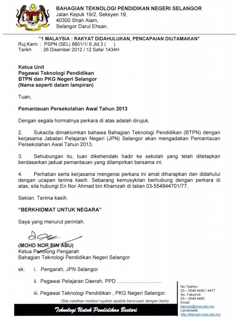 Contoh Surat Rasmi Kepada Ketua Menteri Melaka Surat R