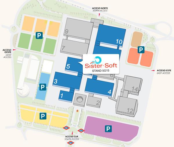 Ubicación del pabellón 5 donde se encuentra el estand de Sister-Soft