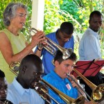 Patricia Hurley, Nicholas Smith and members of Fanfare rehearsing