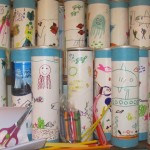 Pringles cans decorated and filled with school supplies by Deep River Elementary School students.  Ready to be shipped!