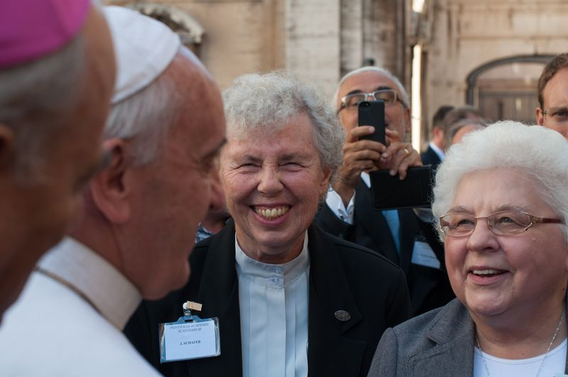 Jean Schafer, SDS, and Marlene Weisenbeck, FSPA, share at a Vatican anti-trafficking seminar.