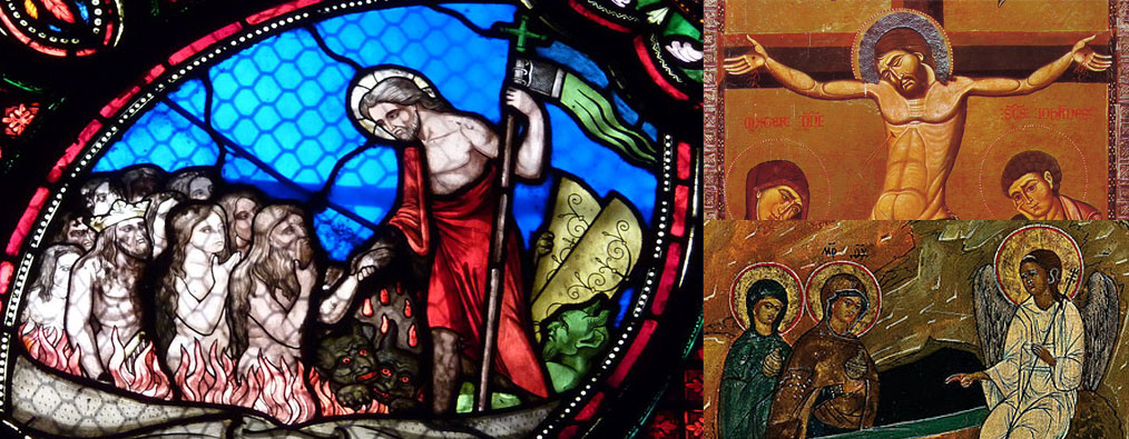 Montage of scenes from crucifixion, tomb & resurrection.