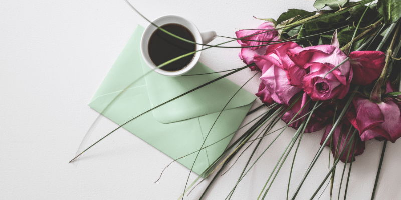Coffee, Letter, and Pink Roses