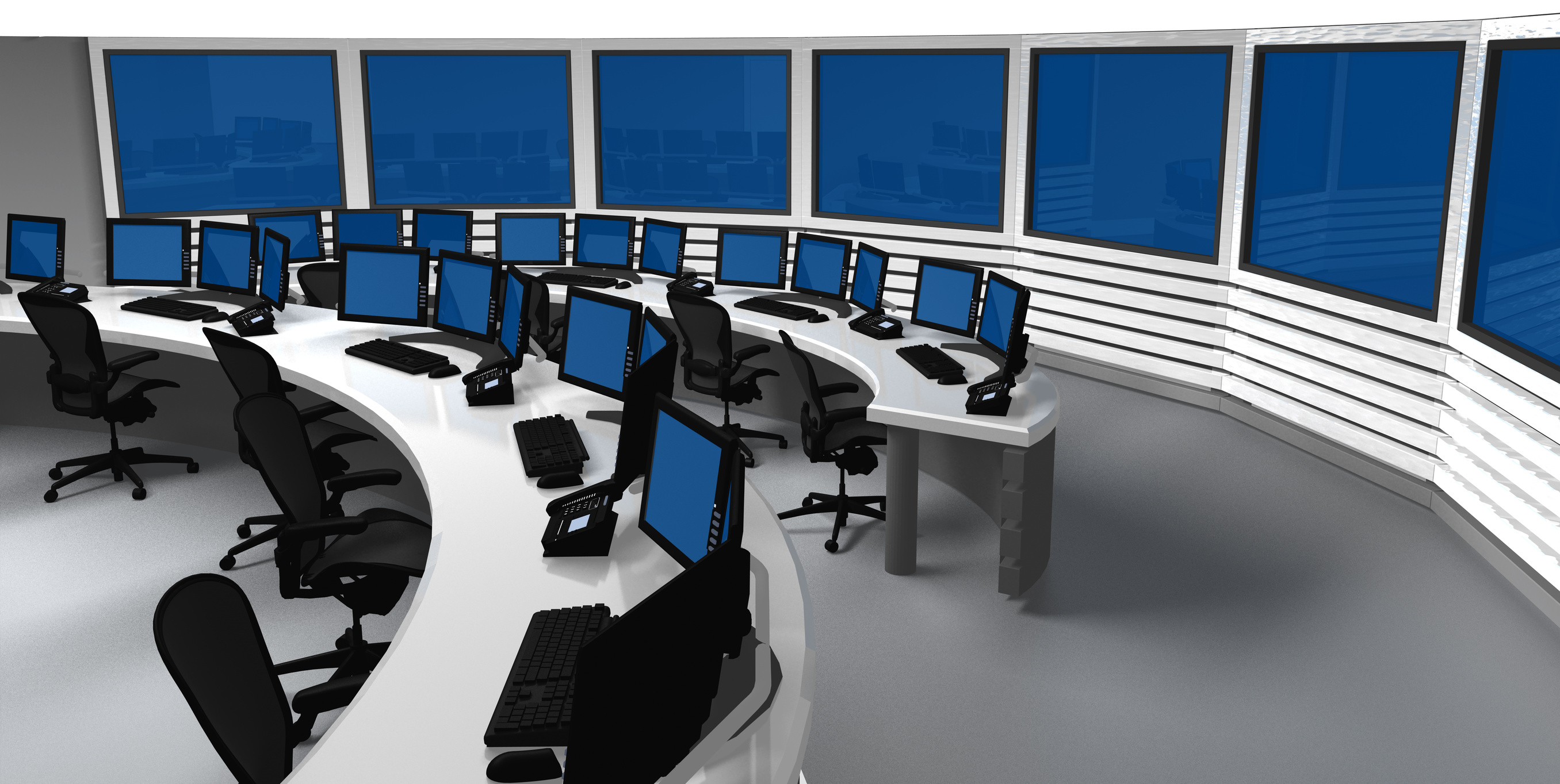 Surveillance control center with several monitors and screens