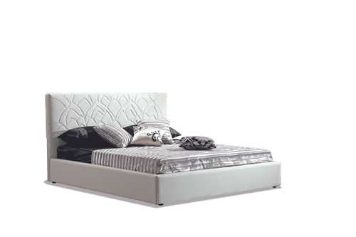 Lauren King Bed In White Leather