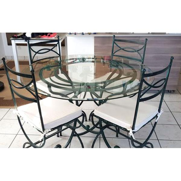 table verre chaises fer forge table