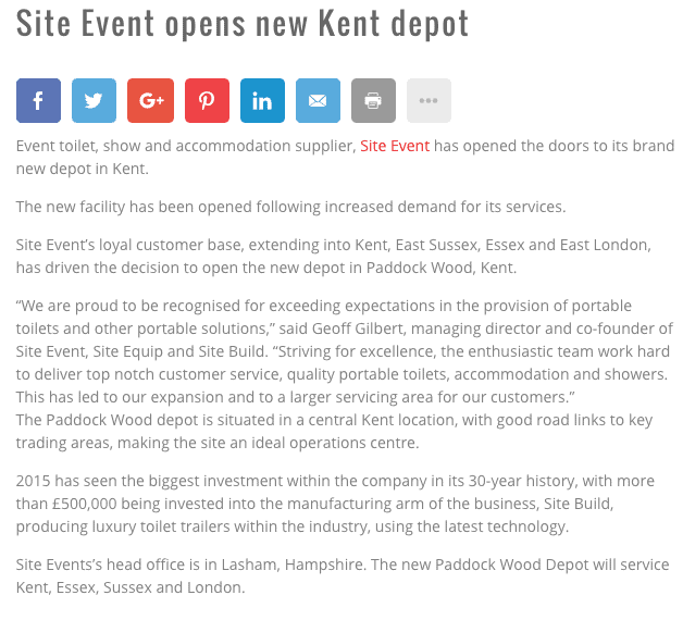 Site Event Opens New Kent Depot - Stand Out - November 2015