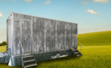 toilet trailer with grass bg