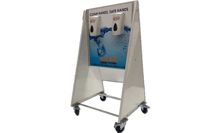 4 Bay Mobile Portable Hand Sanitiser Station Side View