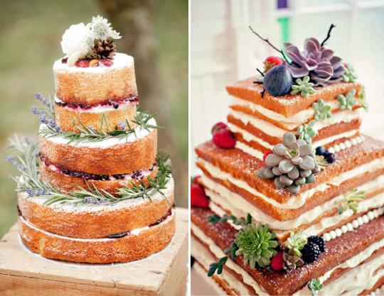 Naked cake é opção para bolos de casamento