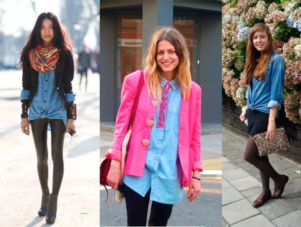 fotos de mulheres usando camisa jeans