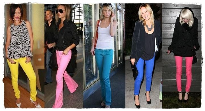 celebridades usando Calças Skinny Coloridas