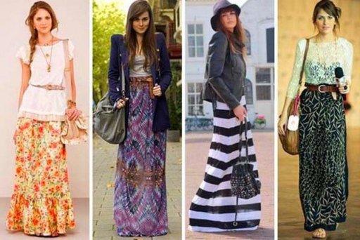 saias longas nas cores do verão