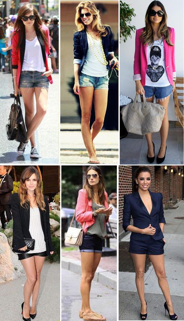 Blazer feminino e shorts