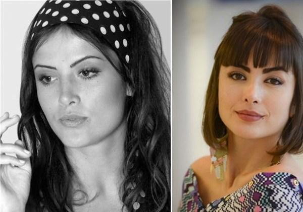 Maria Casadevall antes e depois de sobrancelhas